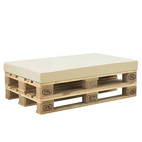 [neu.haus] Cuscino per Mobili di Pallett con Fodera 120 x 80 x 10 cm Spugna con Rivestimento Uso Interno e Esterno Beige