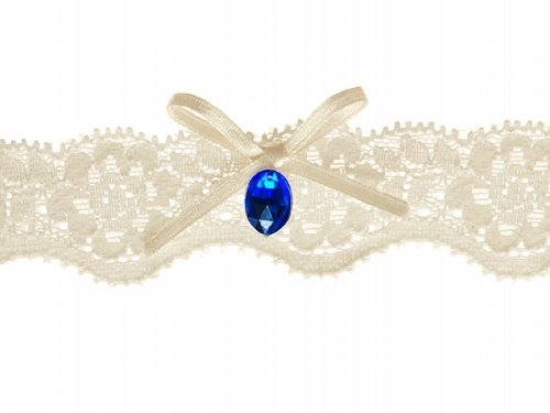 Strumpfband cremefarben mit Schleife und blauem Stein Braut Hochzeit Brautkleid