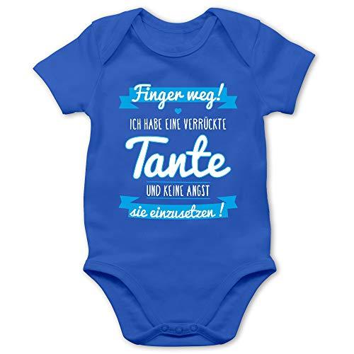 Shirtracer Sprüche Baby - Ich Habe eine verrückte Tante Blau - 3/6 Monate - Royalblau - pamperstorte Junge - BZ10 - Baby Body Kurzarm für Jungen und Mädchen