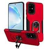 HD Accessory Multifunctional Hybrid Case with 360° Bottle Opener Rotating Ring Holder Kickstand for Samsung Galaxy S20 Plus - Red
