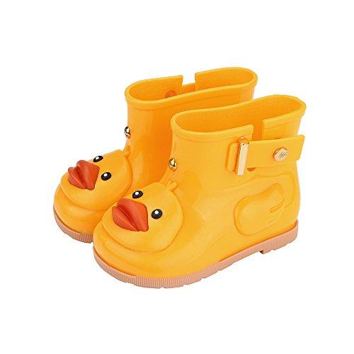 Jshuang Yellow Cartoon Duckling Student Rain Boots Rain Boots Non-Slip Shoes, Infant Kids Children Baby Cartoon Duck Rubber Waterproof Boots Rain Shoes,Age1-7 Rain Shoes (Yellow, 27)