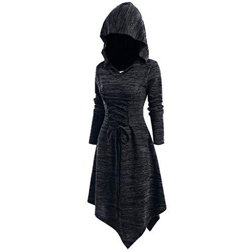Vrouwen Swing Hooded Jurk Top Dames Halloween Renaissace Gotische Lace-Up Asymmetrische Slanke Steampunk Vintage Cocktail Uniform Mantel
