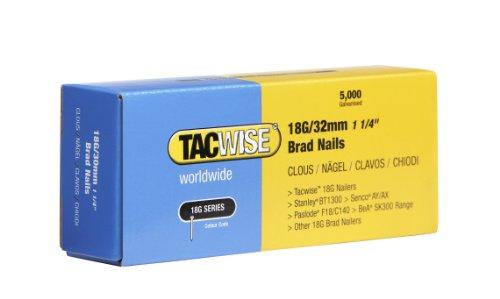 Tacwise 0398 Stiftnägel 18G/32mm Verzinkt (5.000 Stück), Silber, 32 mm