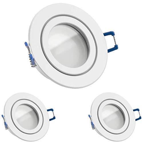 3er IP44 LED Einbaustrahler Set Weiß mit LED GU10 Markenstrahler von LEDANDO - 5W - warmweiss - 120° Abstrahlwinkel - Feuchtraum/Badezimmer - 35W Ersatz - A+ - LED Spot 5 Watt - Einbauleuchte rund