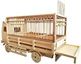 HLZY Jaula de pájaros de Parrot de Vuelo Grande para De Jaula de Vuelo Creative Bamboo Bird Cage Pet Supplies Modeling de automóviles Rueda Slidable para Loros y Canarios Hundido