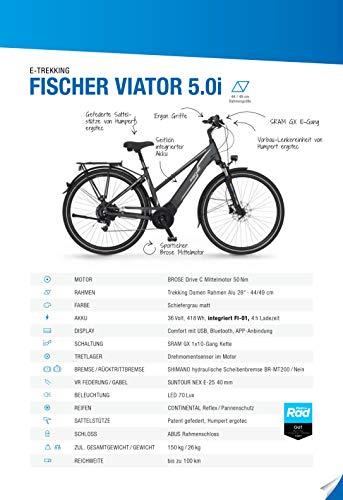 FISCHER Damen – E-Bike Trekking VIATOR 5.0i (2020), grau matt, 28 Zoll, RH 49 cm, Brose Drive C Mittelmotor 50 Nm, 36V Akku im Rahmen kaufen  Bild 1*