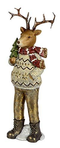 dekojohnson decoratief hert kerstdecoratie hertenfiguur jongen decoratief rendier nostalgisch deco sculptuur in bruin beige 30 cm groot