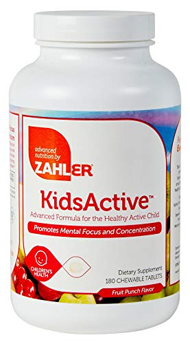 Zahler KidsActive, Kids Chewable Concentration Formula, All Natural Children's Supplement Supporting Focus and Attention, Certified Kosher, 180 Fruit Punch Flavored Tablets