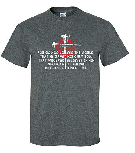 Camiseta masculina de manga curta com a escritura cristã João 3:16 versículo da Bíblia para Deus So Loved The World Jesus, Cinza mesclado, L