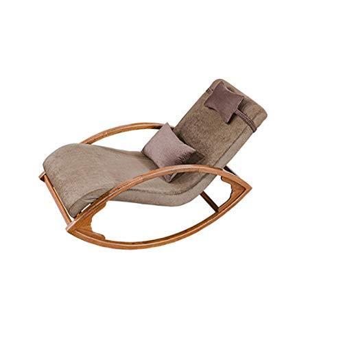 Vobajf Sedia a Dondolo Sedia a Dondolo Chinese Style Lounge Chair New Chinese Style Tempo Libero Balcone Easy Sedia .Poltrona (Colore : Marrone, Size : 138x65x75cm)
