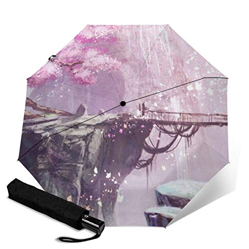 Peach Tree,Auto-Opening Travel Umbrella, Compact, Foldable, Sun & Rain Protection, Windproof, Portable Umbrella for Kids, Women, Men