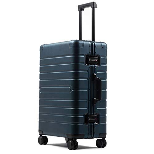 ビルガセ(Vilgazz) スーツケース アルミ・マグネシウム合金ボディ 軽量 キャリーケース 丈夫 キャリーバッグ TSAロック付 大容量 静音 大型 ビジネス 旅行出張 機内持込 1年保証 ブルー Dark Blue Lサイズ 約60L