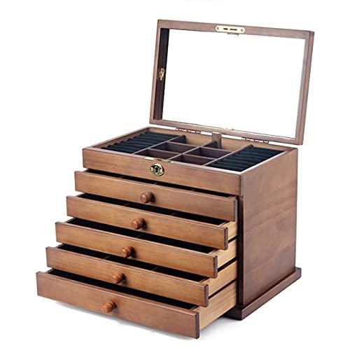 Joyero de madera maciza de seis capas de gran capacidad y cerradura retro de Eardrum pendientes collar accesorios regalo lirios