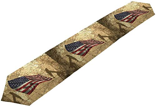 Double-Sided Pirate Treasure Map Vintage Italian Flag And American On The Of United States Table Runner 13 x 90 Inches Long,Table Cloth Runner for Wedding Party Holiday Kitchen Dining Home Everyday D