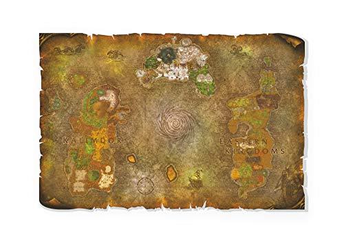 Wrath of the LichKing   World of Warcraft Mappa   Tela   Pergamena   WallArt   Tavolo   Regalo   WOTLK   L'ira del LichKing   Azeroth   Stampa UV (61 x 40 cm)