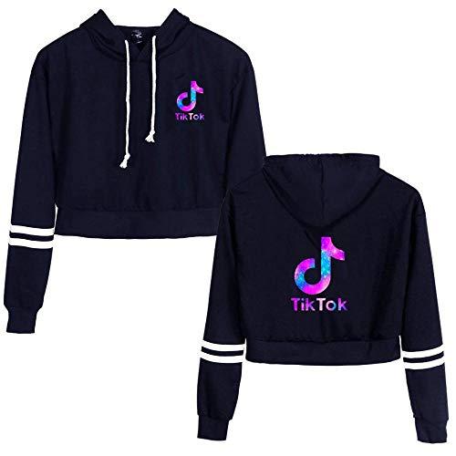 CCDSR- Kurzes Hoodie-Sweatshirt, langärmliges Crop-Top-Pullover für Teenager-Mädchen (farbenfrohes Tik-Tok-Symbol auf der linken Brust)