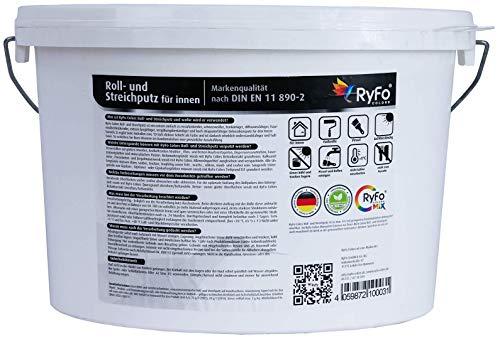 RyFo Colors Roll- und Streichputz für innen 20kg (Größe wählbar) - Rollputz für den Innen-Bereich, strahlend weiß mit edler feinkörniger Struktur, einfachste Verarbeitung - 2