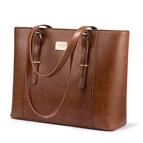 LOVEVOOK Laptop Bag for Women, Structured Leather Computer Bag, Professional Work Tote Purse, Teacher/Attorney's Choice, Retro-Brown