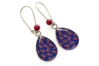 Boucles d'oreilles wax, rouge et bleu, pendantes femme cabochon, Fatoumata, Afrique ethnique