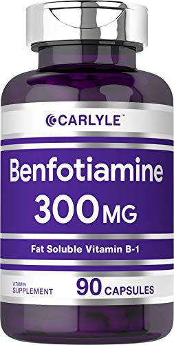 Benfotiamine 300mg 90 Capsules | Vitamin B1 | Promotes Healthy Blood Sugar | Non-GMO, Gluten Free | by Carlyle