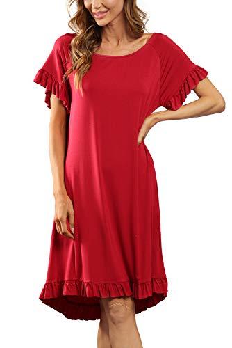 EVELIFE Midi koszula nocna dla kobiet okrągły dekolt koszula nocna z krótkim rękawem miękka chemika koszula nocna z kieszeniami falbany brzeg piżama koszula nocna
