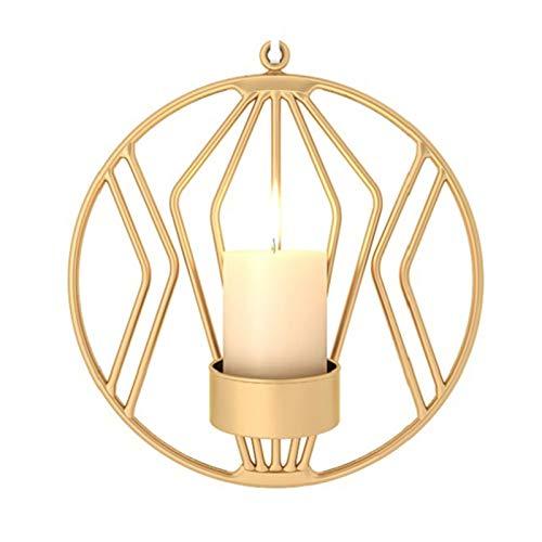 VKTY Wand-Kerzenhalter, 2 Stück, geometrischer Kerzenhalter, moderne Metallwandkunst, Kerzenhalter, Heimdekoration, Teelicht, Wanddekoration, Kerzenhalter für Wohnzimmer, gold