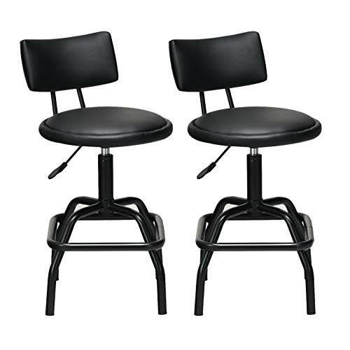 COSTWAY Adjustable Height Bar Stool, 360 Degree Swivel, Modern PU Leather Cushion for High Ergonomic Seating, Heavy Duty Steel Frame Stool Bistro Pub for Countertop Dining, Home, Bar and Shop, Black