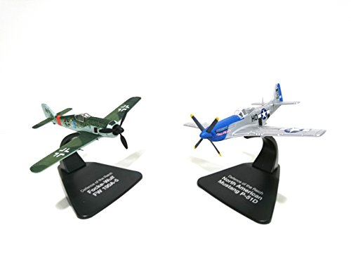 Set of 2 World War II Fighter Planes 1:72 North American Mustang P-51D Américain Against Focke Wulf FW190A-5 (Ref D03)