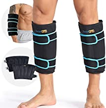 Shin Splint Ice Packs for Injuries Resuable Gel, Calf Ice Pack Wrap Cold Compression Sleeve for Runner, Shin Splints Leg Pain Relief Support Cold Pack, Relief for Swelling and Inflammation (Pack of 2)