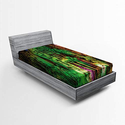 ABAKUHAUS Vistoso Sábana Elastizada, Roca del Arco Iris de Colores, Suave Tela Decorativa Estampada Elástico en el Borde, 90 x 200 cm, Multicolor