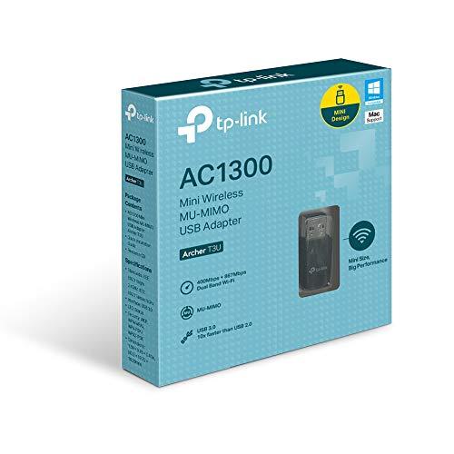 TP-Link Archer T3U AC1300 MU-MIMO USB 3.0 WiFi Adapter, unterstützt Windows 10/8.1/8/7/XP,Mac OS X), Schwarz