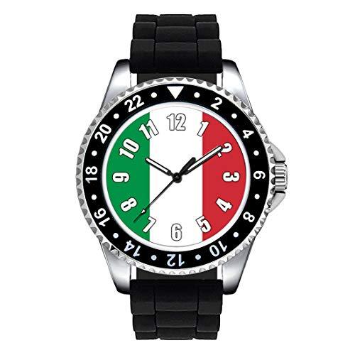 Timest - Bandiera Italia - Orologio da polso unisex con cinturino in silicone nero analogico al quarzo SE0439SB