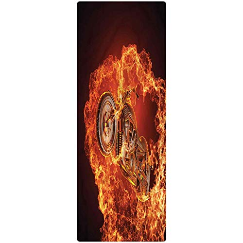 Manly Runner Rug, 1.3'x4', Motorbike in Fire Decorative Runner Rug with Non Slip Backing for Hallway Entry Way Floor Carpet
