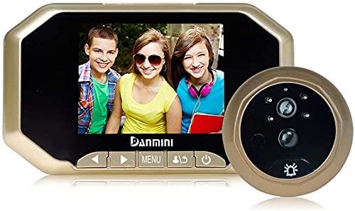 Timbre inalámbrico, Video Doorbell Cámara, cámara Digital Peephole Viewer Camera, WiFi Video Door Door Portero Intercomunicador, 3,5 '' LCD, Visión Nocturna, ángulo de visión de 160 Grados, Detección