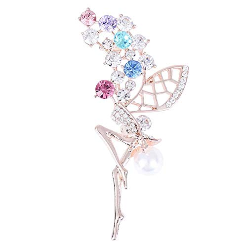 Cosanter Brooches Pin Women's Color Flower Fairy Elf Brooch for Wedding/Banquet/Bouquet