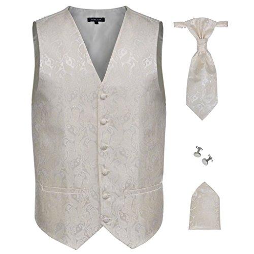 Festnight Paisley Herren Hochzeitswesten Set mit Weste Krawatte Einstecktuch Manschettenknöpfe Hochzeitsmode Größe 54 Cremefarbe