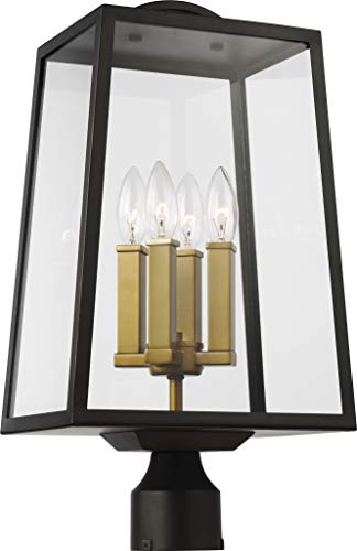 "Feiss OL14504ANBZ-PBB Lindbergh Modern Outdoor Post lantern, 4-Light, 240 Watts, Antique Bronze/Painted Burnished Brass (20""H x 11""W)"