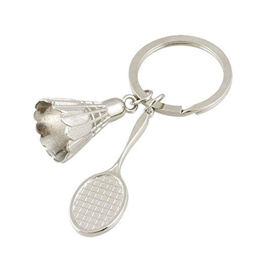 Nopea Schlüsselanhänger Anhänger Metall Battledore Federball Schlüsselanhänger Badminton Ball Anhänger Schlüsselanhänger für Liebhaber Silber