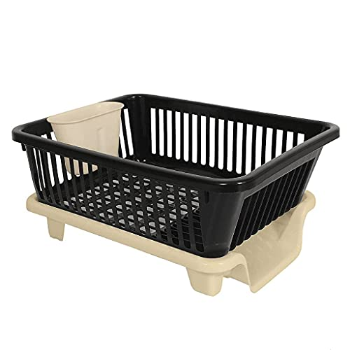DHOLA Sales Large Durable Unbreakable Plastic 3 in 1 Kitchen Sink Dish Rack Drainer Drying Rack Washing Basket with Tray for Kitchen, Dish Rack Organizers, After wash Cutlery Multicolor