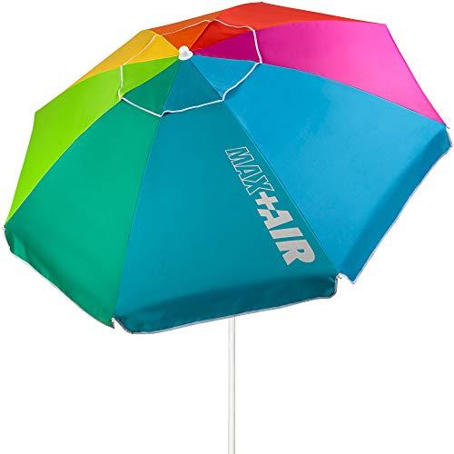 AKTIVE 62221 - Sombrilla de playa grande, Ø200 cm, sombrilla resistente al viento, protección UV 50, multicolor, mástil 28-32 mm, mástil flexible, incluye bolsa de transporte, AKTIVE Beach