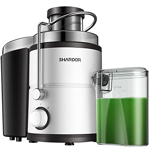 """SHARDOR Centrifugal Juicer Machine, Electric Juice Extractor with Big Mouth 3"""" Feed Chute, 400 Watts 2-Speed Control, Overload Protection Safe Juice Maker with Lock Arm, BPA-Free, White"""