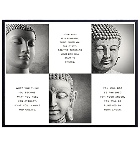 LARGE 11X14 - Positive Inspirational Quotes Buddha Posters - Zen Buddhism Wall Art - Spa Namaste Wall Decor, Yoga Studio, Home Office - Uplifting New Age Buddhist Meditation Spiritual Gifts for Women