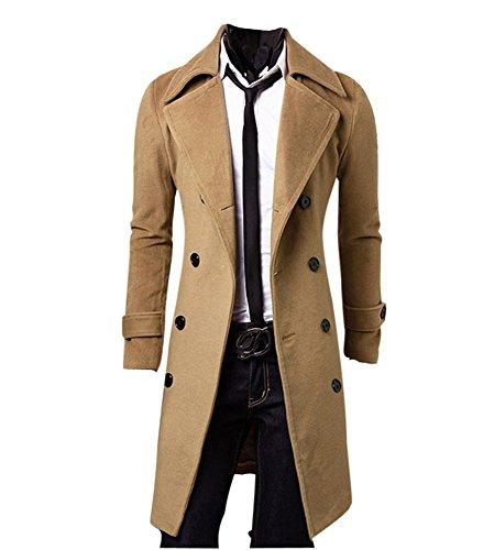 MISSMAO Hombres Abrigo de Invierno Slim Elegante Trench Coat Double Breasted Chaqueta Larga Parka Gabardina