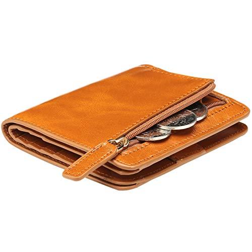 ITSLIFE Donna Rfid Blocco Piccolo Compact Bifold Pocket Portafoglio In Pelle Ladies Mini Borsa Con Id Finestra Taglia Unica 2 Waxed Marrone