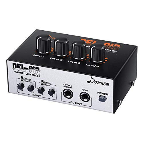 Donner Audio Mixer, Portable Stereo Line Mixer,4-Channel,As Microphones,Guitars,Keyboards or Stage Sub Mixer,Ideal for Club or Bar.With AC adapter,Stereo/Mono Adjustment,New Version-DEL-8i2