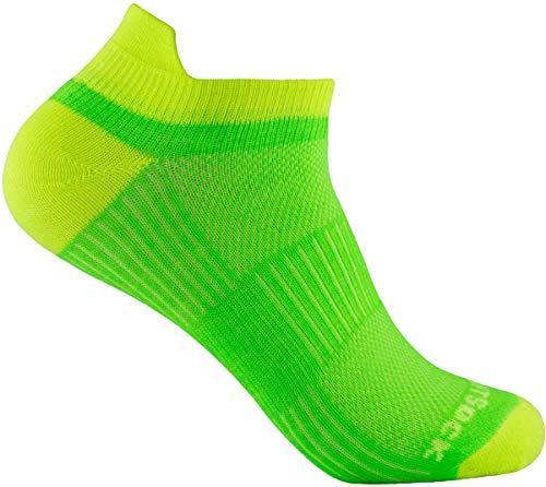 Wrightsock Profi Sportsocke Sneakers Low Tab - anti-blasen - Farbe lemon lime, Gr. L