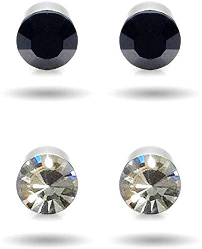 Non-Pierced Stainless Steel Magnetic 2 pair Earring for Men and Women