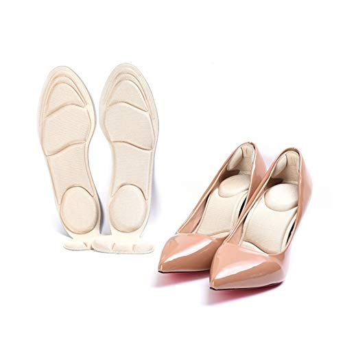 EWQK Elegant and Comfortable 2pcs Insole Pad Inserts Heel Post Back Breathable Anti-slip For High Heel Shoe High Heel Shoes Insoles Memory Foam Breathable and durable (Color : Apricot)