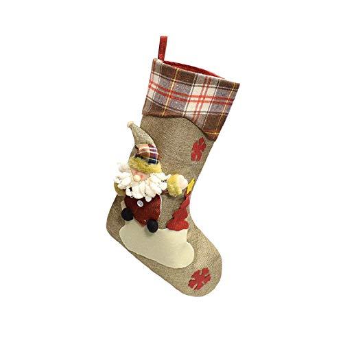 CMTOP Calza di Natale Set Calza Natalizia Babbo Natale Pupazzo di Neve e Elk Calze Natalizie Calza Natalizia Deluxe con pennarelli Tricolore Calze Natalizie Personalizzate 3D Grandi Fatte a Mano