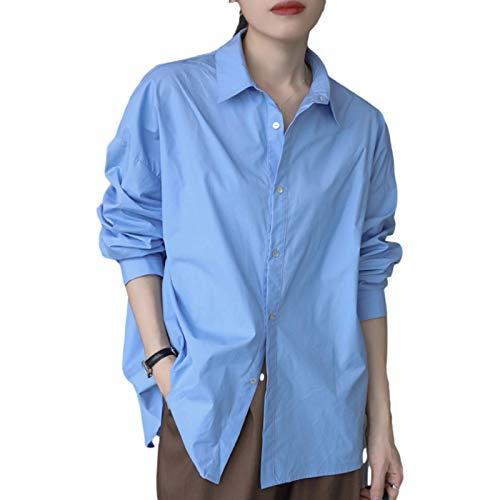 Camisa de Cuello Alto para Mujer, Otoño Moda clásica Color sólido Manga Larga Estilo de botón Camisa Informal Suelta para Trabajo Oficina S